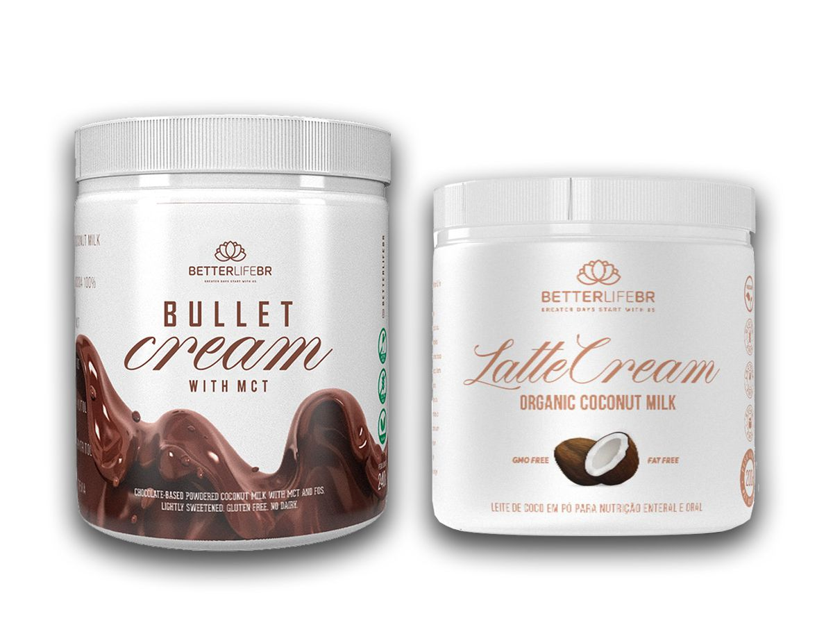 Bullet Cream com MCT 240g e LatteCream Leite de Coco 200g - BetterLife