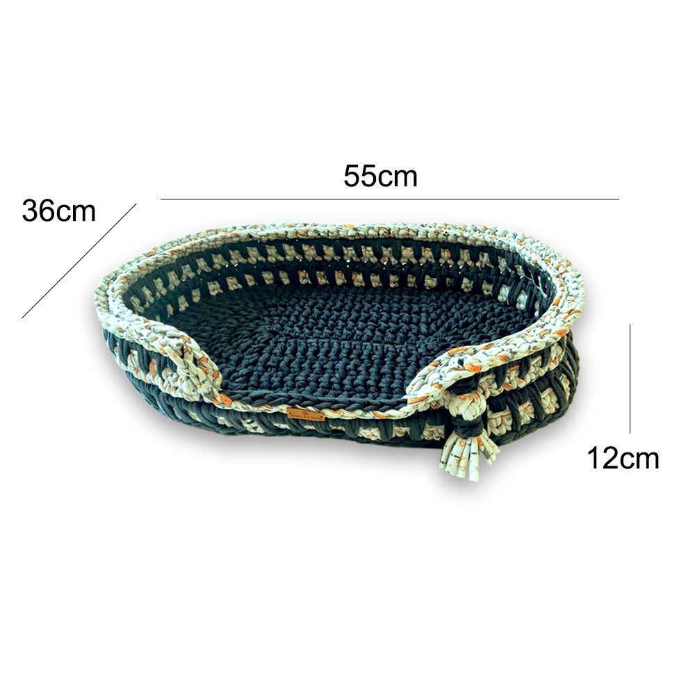 Cama Pet Oval Azul Feito a Mão Fio de Malha MimosbyBeth
