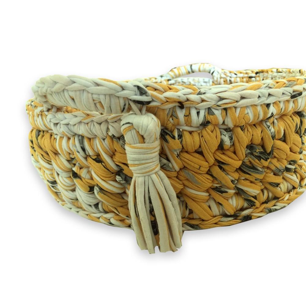 Cama Pet Redonda com Alças Amarelo Feito a Mão Fio de Malha MimosbyBeth