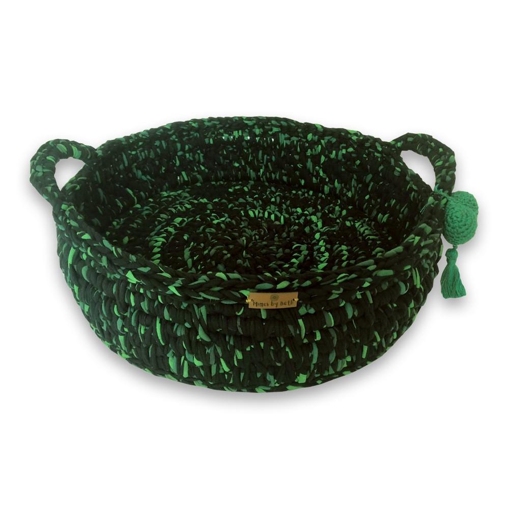 Cama Pet Redonda com Alças Preto com Verde Feito a Mão Fio de Malha MimosbyBeth