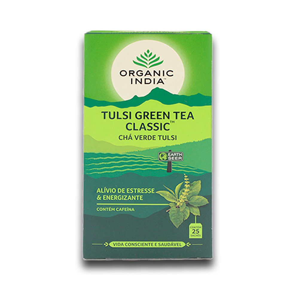 Chá Tulsi Chá Verde Green Tea 25 saches - Organic India