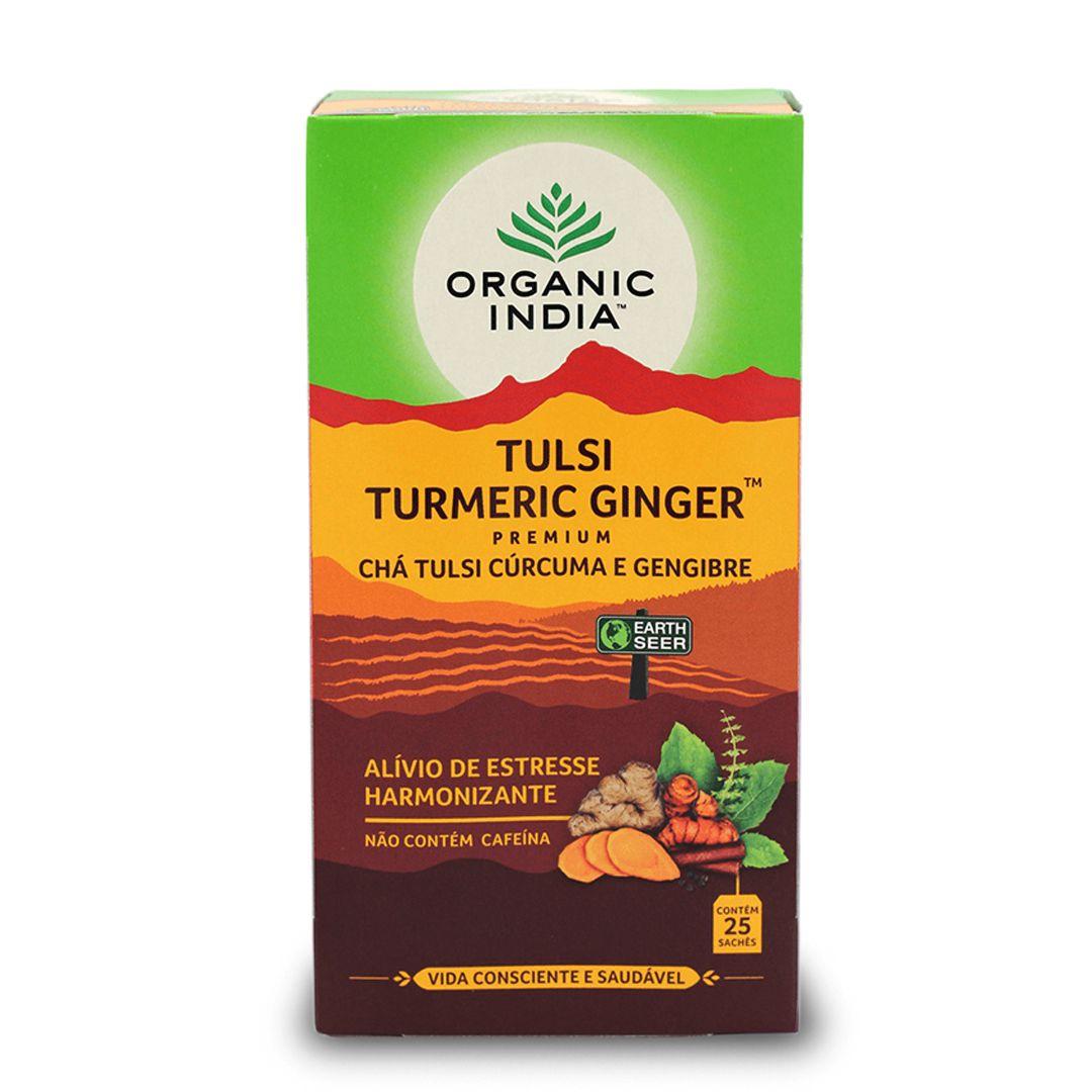 Chá Tulsi com Curcuma e Gengibre 25 saches - Organic India