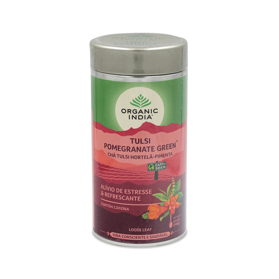 Chá Tulsi com Romã e Chá Verde Lata 100g - Organic India