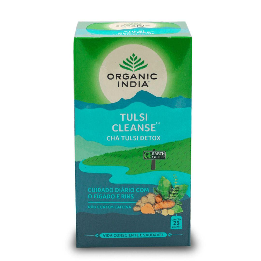 Chá Tulsi Detox Cleanse Açafrão, Gengibre, Quebra Pedra 25 saches - Organic India