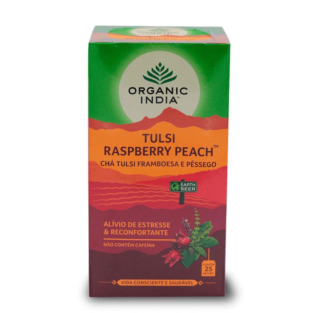 Chá Tulsi Framboesa e Pêssego 25 saches - Organic India