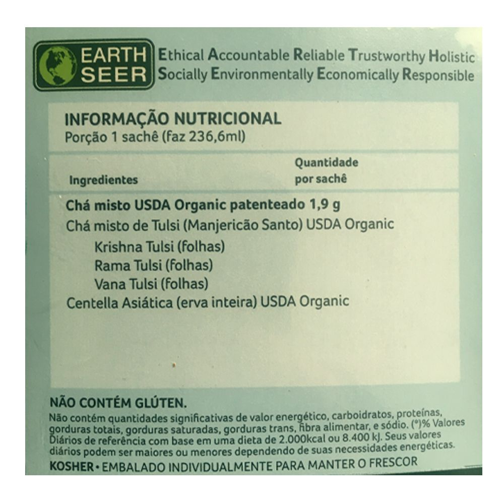 Chá Tulsi Gotu Kola 25 saches - Organic India