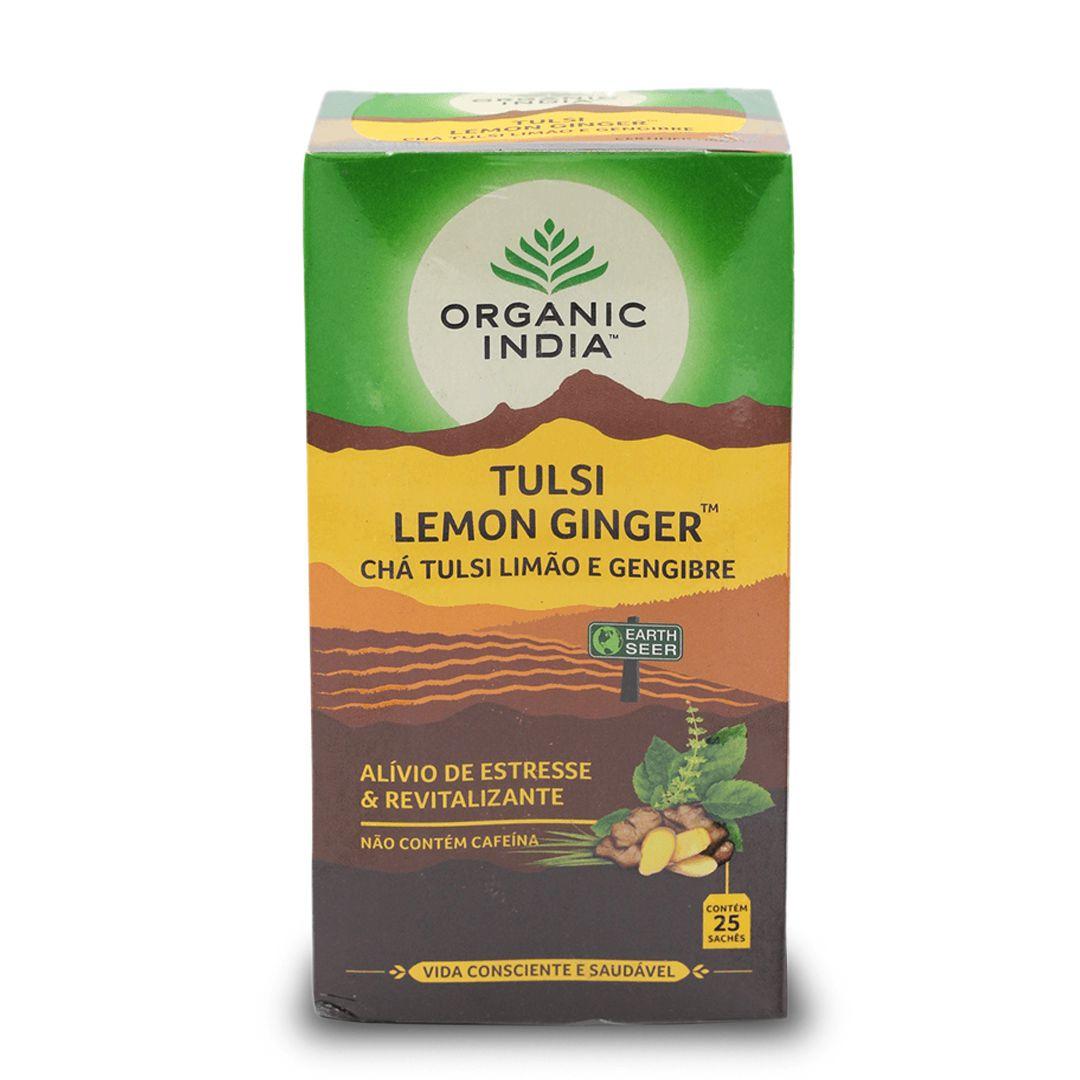 Chá Tulsi Limão e Gengibre 25 saches - Organic India