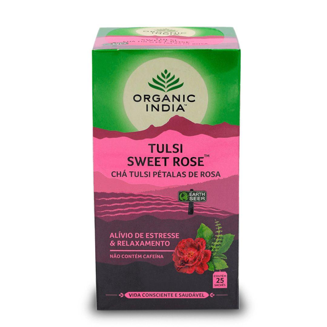 Chá Tulsi Pétalas de Rosa 25 saches - Organic India