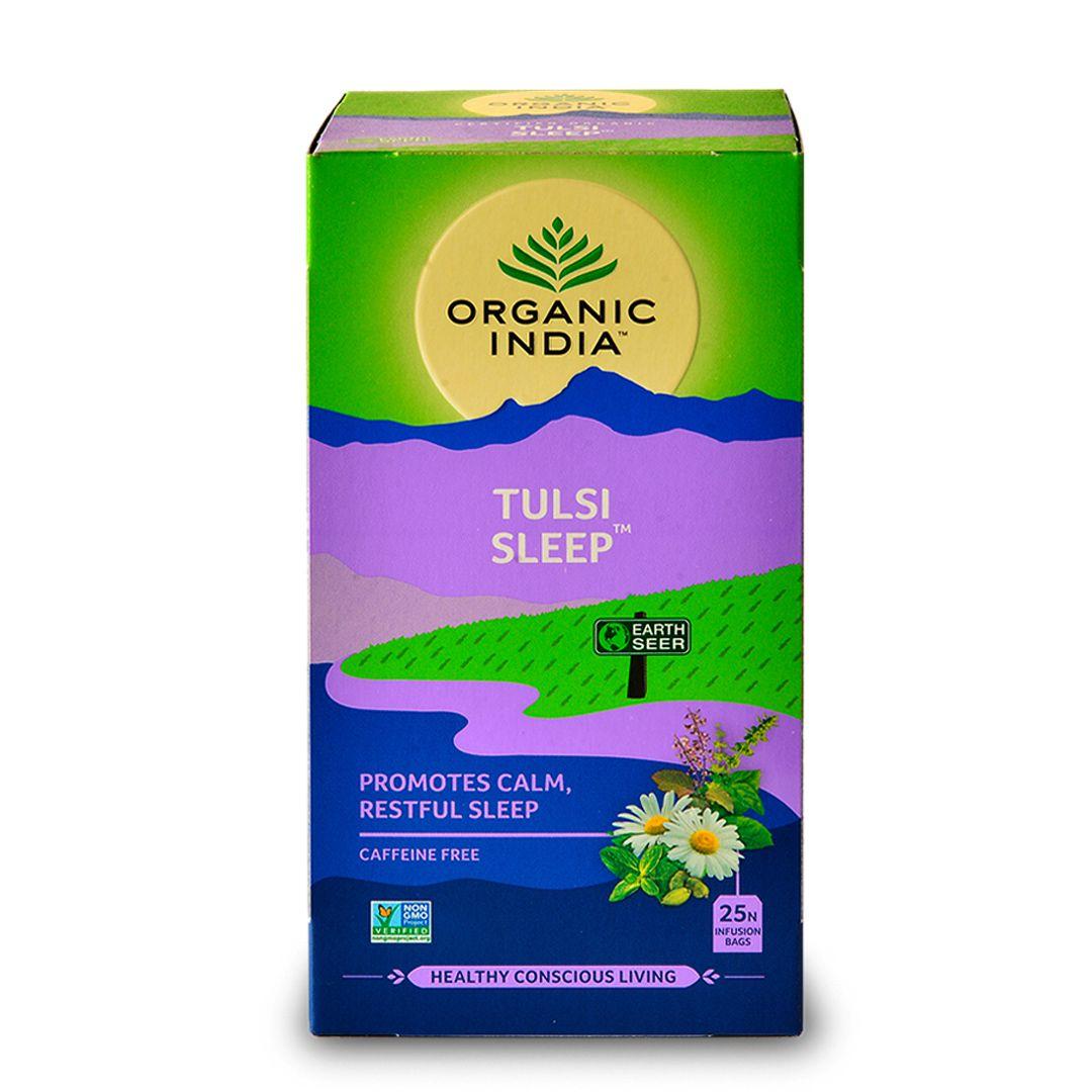 Chá Tulsi Sleep Cardamomo, Hortelã-Pimenta e Camomila 25 saches - Organic India