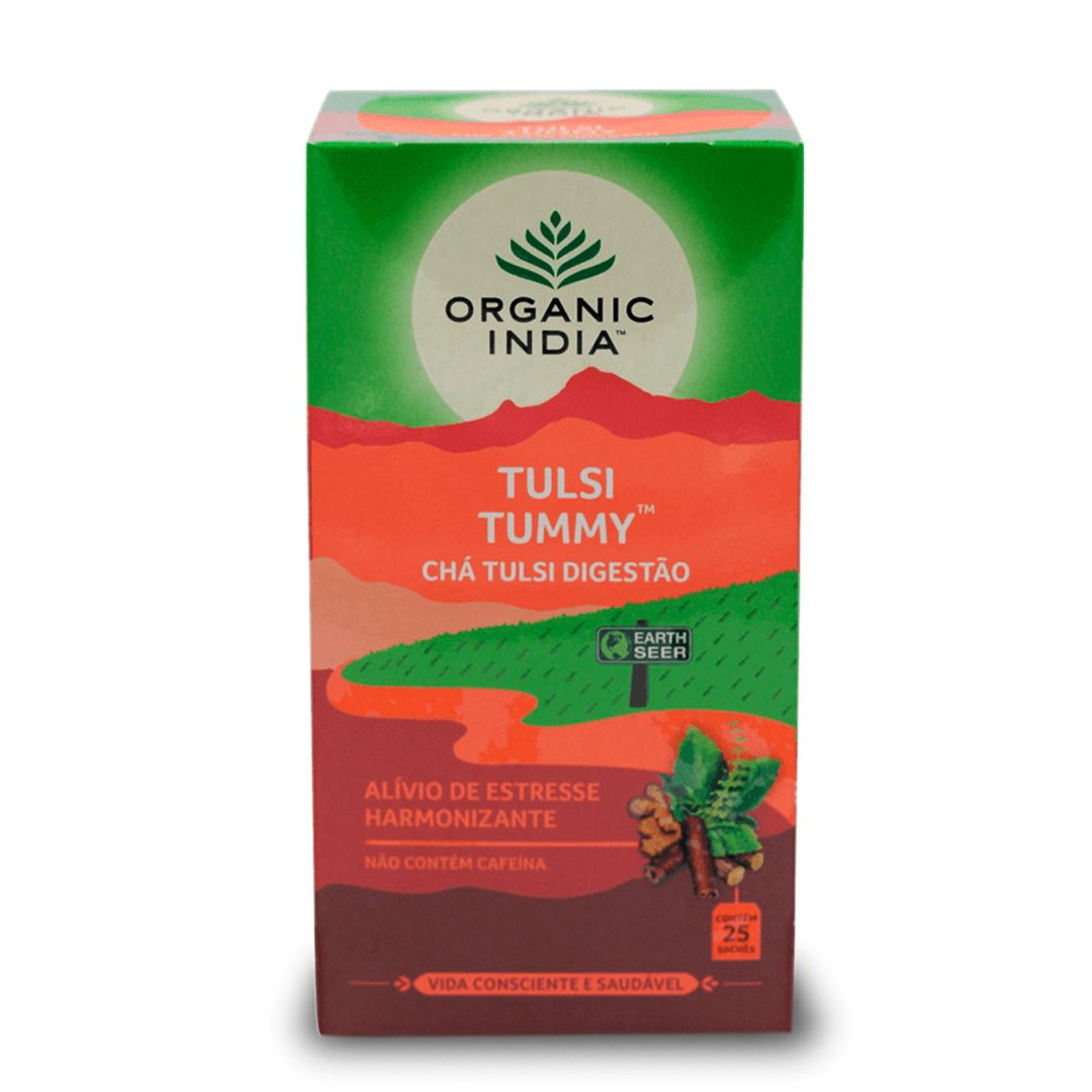 Chá Tulsi Tummy Digestivo Gengibre, Canela 25 saches - Organic India