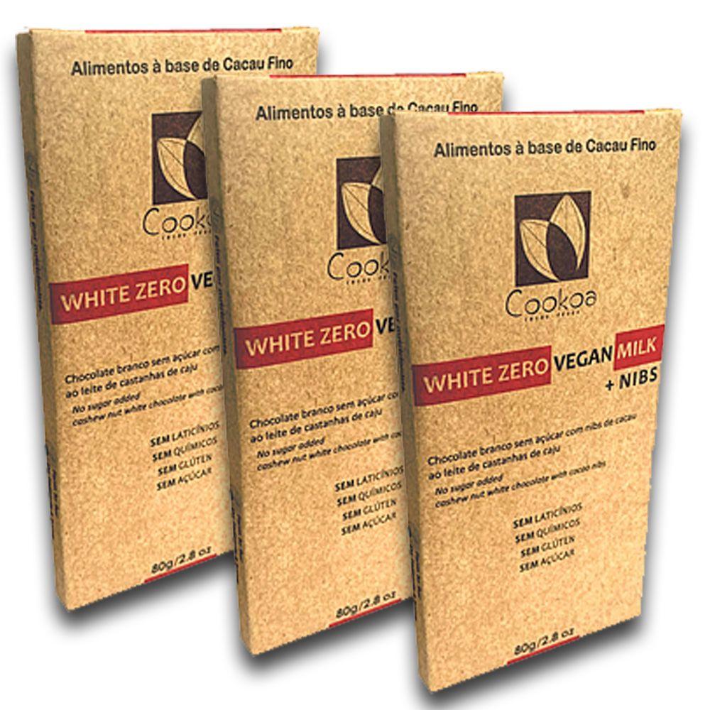 Chocolate Vegano Branco Zero com Nibs 80g 3un. Cookoa