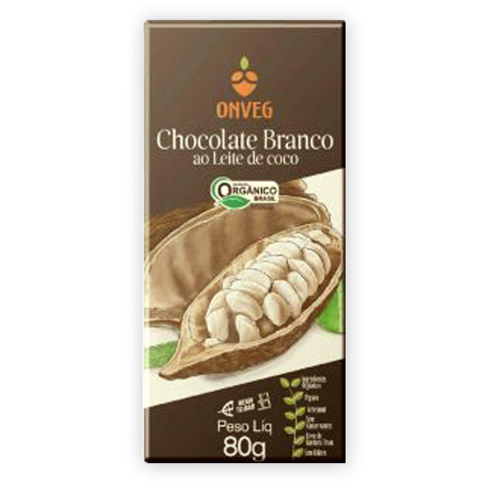 Chocolate Vegano Orgânico Branco com Leite de Coco 80g Onveg