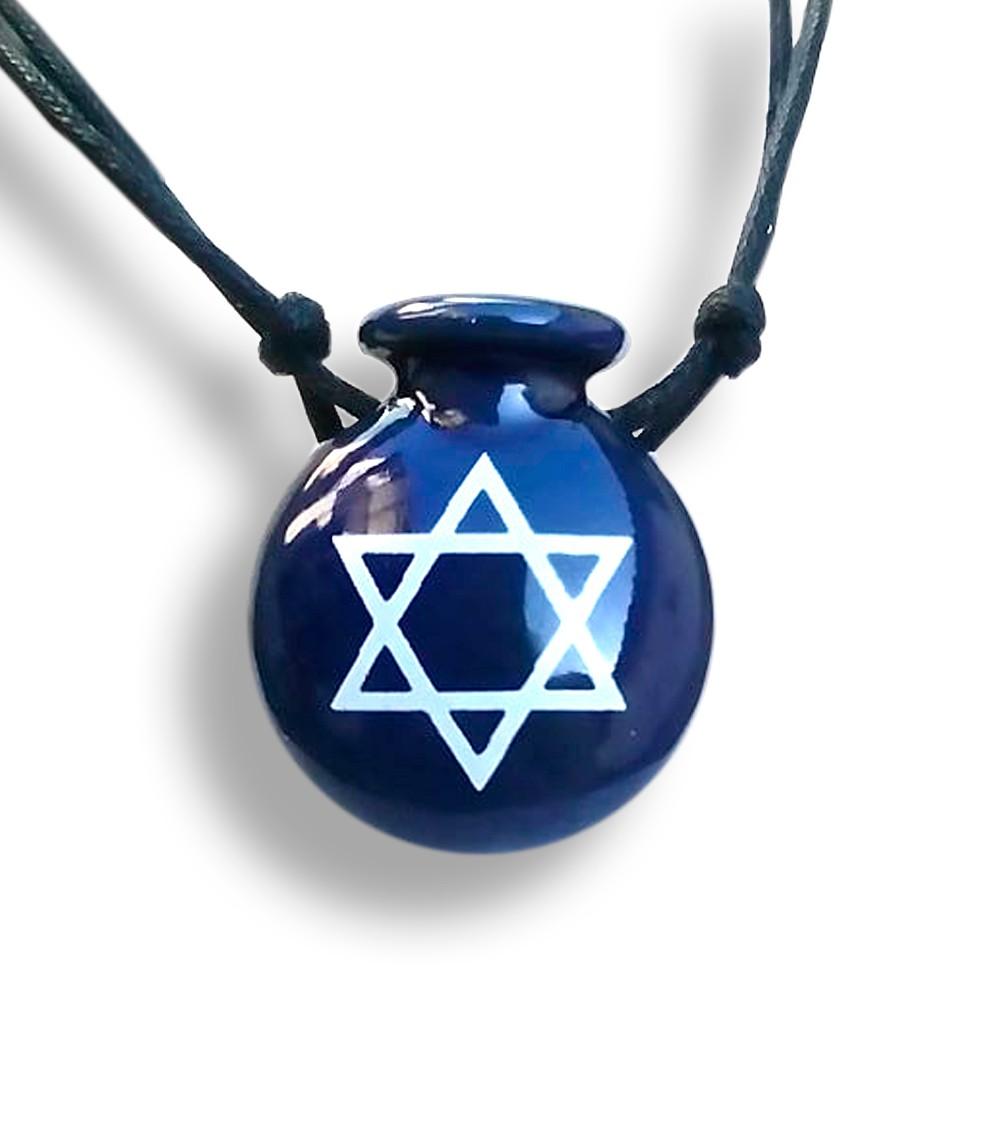 Colar Aromatizador Cantil Azul Estrela de Davi Difusor Pessoal Ortega