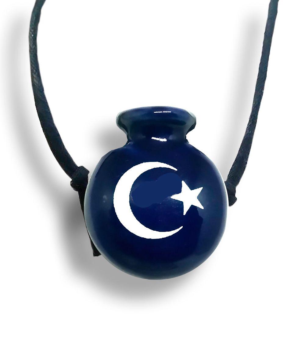 Colar Aromatizador Cantil Azul Símbolo Lua e Estrela Difusor Pessoal Ortega