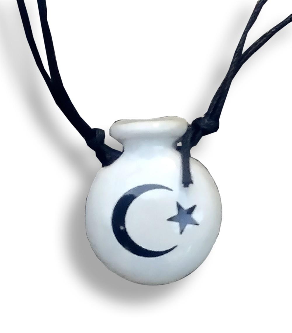Colar Aromatizador Cantil Branco Símbolo Lua e Estrela Difusor Pessoal Ortega