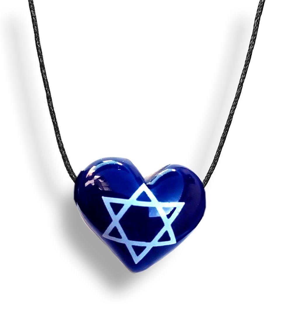 Colar Aromatizador Coração Azul Símbolo Estrela de Davi Difusor Pessoal Ortega