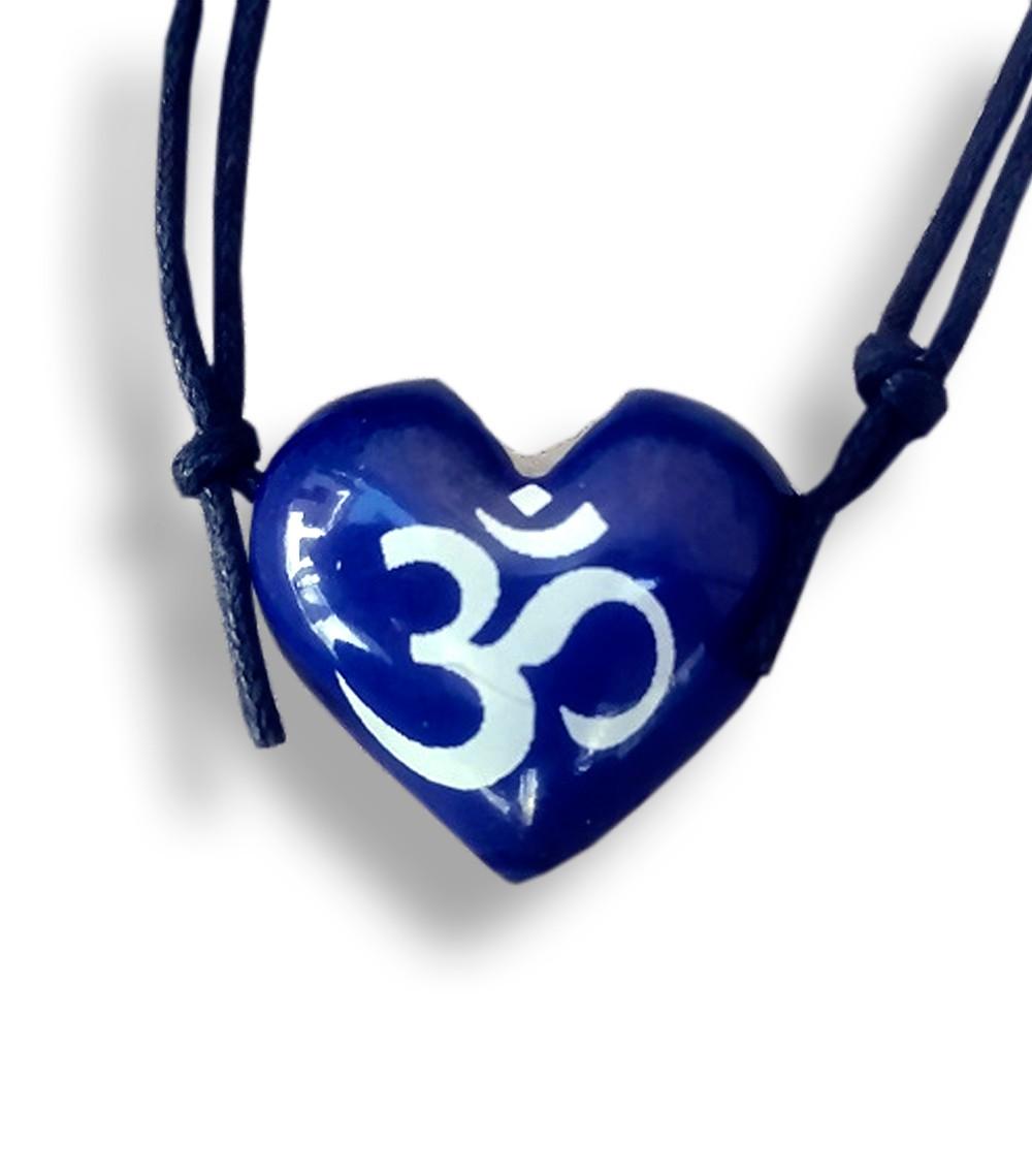Colar Aromatizador Coração Azul Símbolo Sagrado OM Difusor Pessoal Ortega