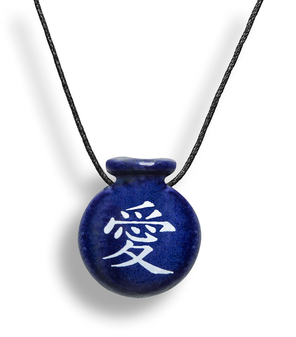 Colar Aromatizador Difusor Pessoal Cantil Símbolo Japonês Amor Azul Ortega