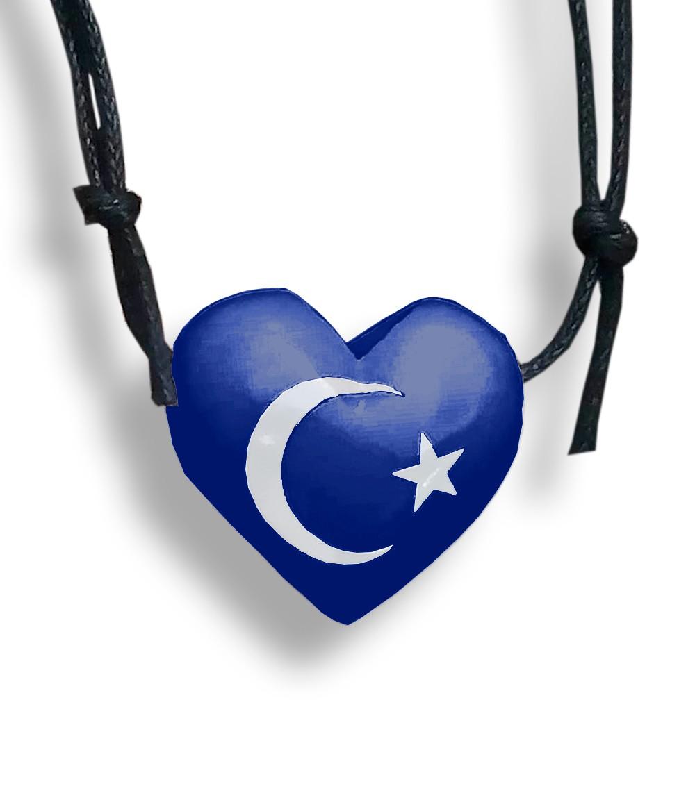 Colar Aromatizador Difusor Pessoal Coração Azul Símbolo Lua e Estrela Ortega