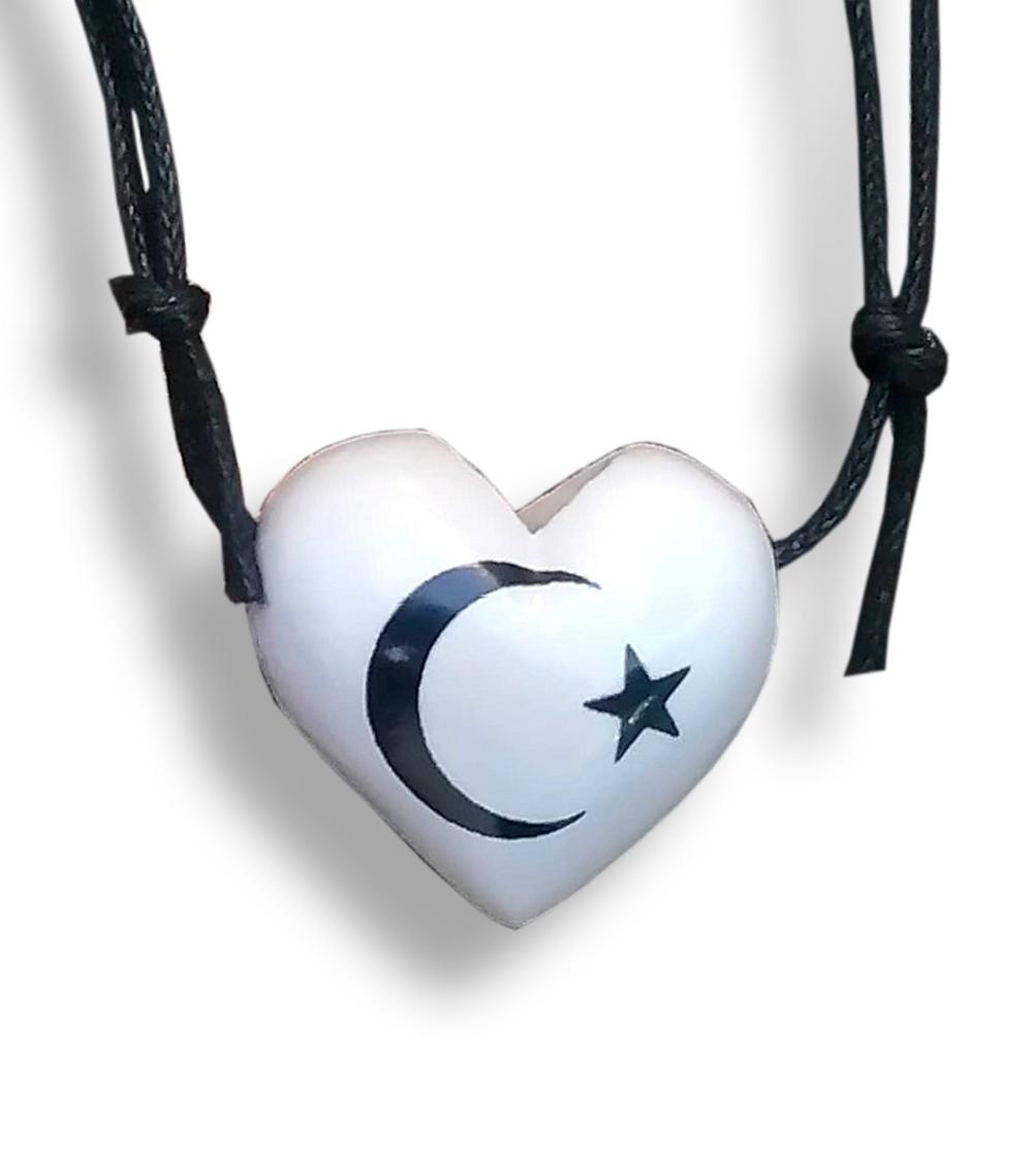 Colar Aromatizador Difusor Pessoal Coração Branco Símbolo Lua e Estrela Ortega