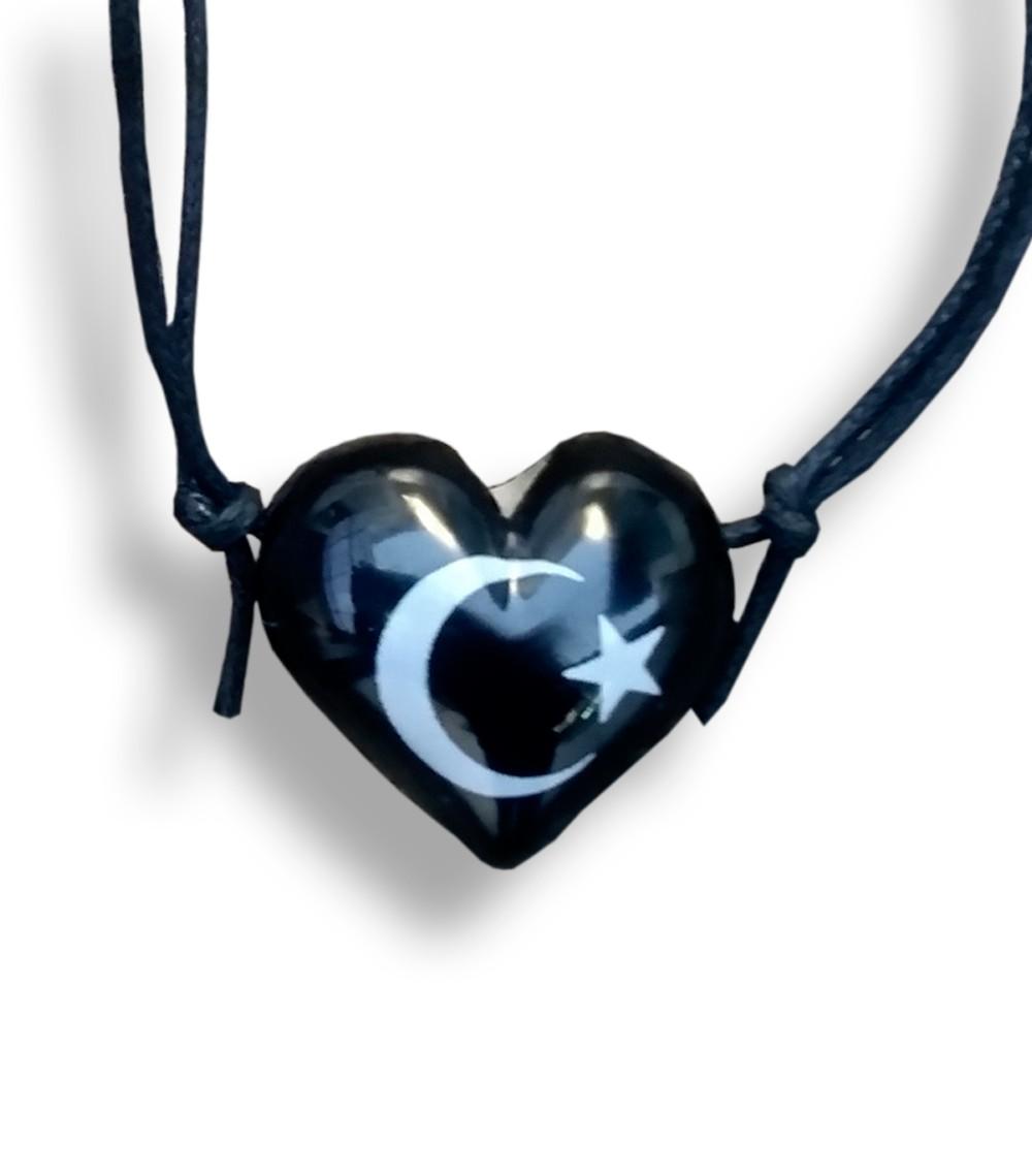 Colar Aromatizador Difusor Pessoal Coração Preto Símbolo Lua e Estrela Ortega