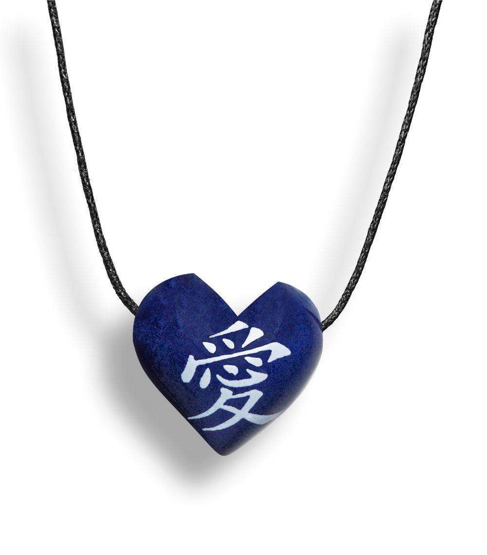 Colar Aromatizador Difusor Pessoal Coração Símbolo Japonês Amor Azul Ortega
