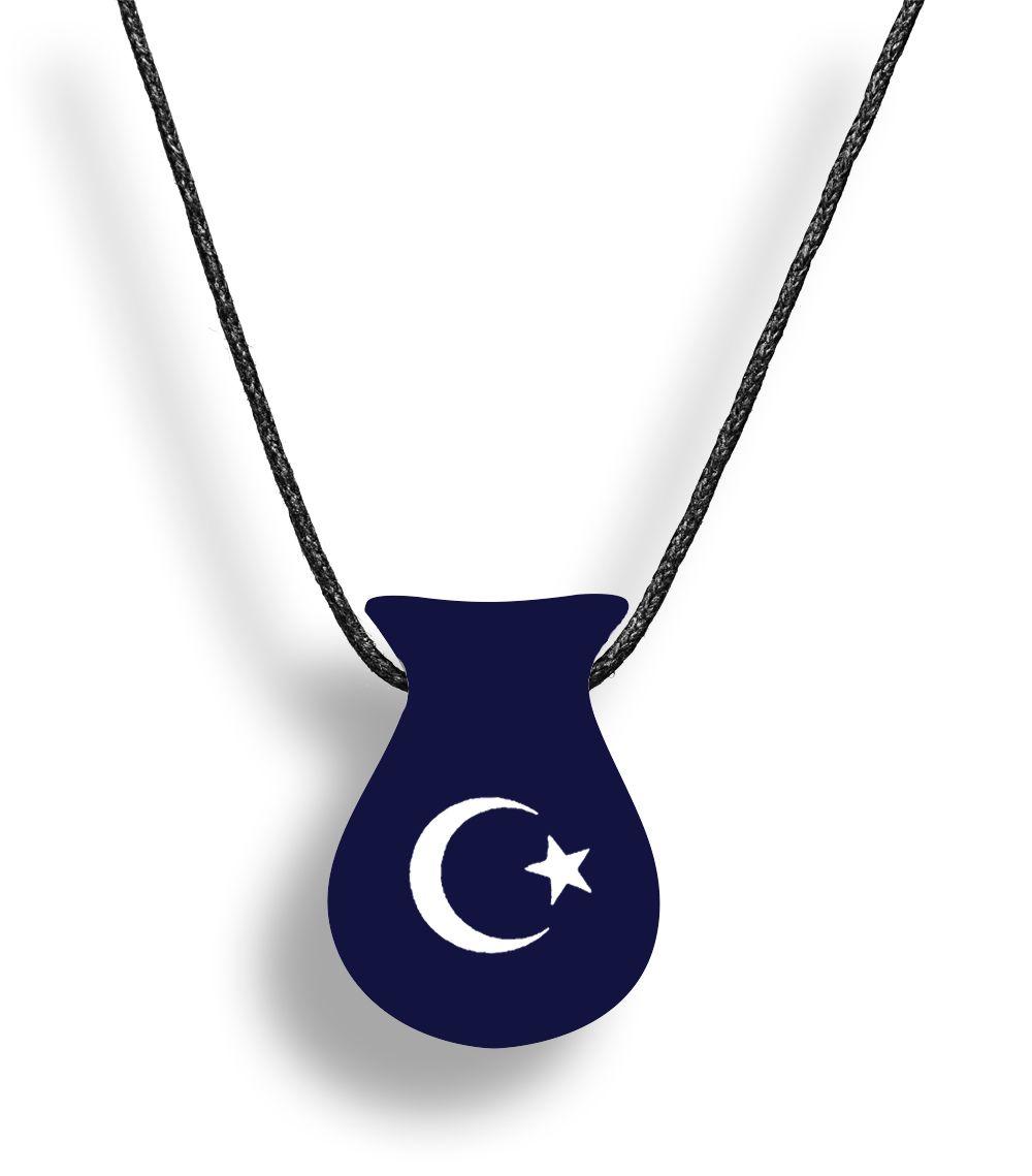 Colar Aromatizador Difusor Pessoal Cuia Azul Símbolo Lua e Estrela Ortega