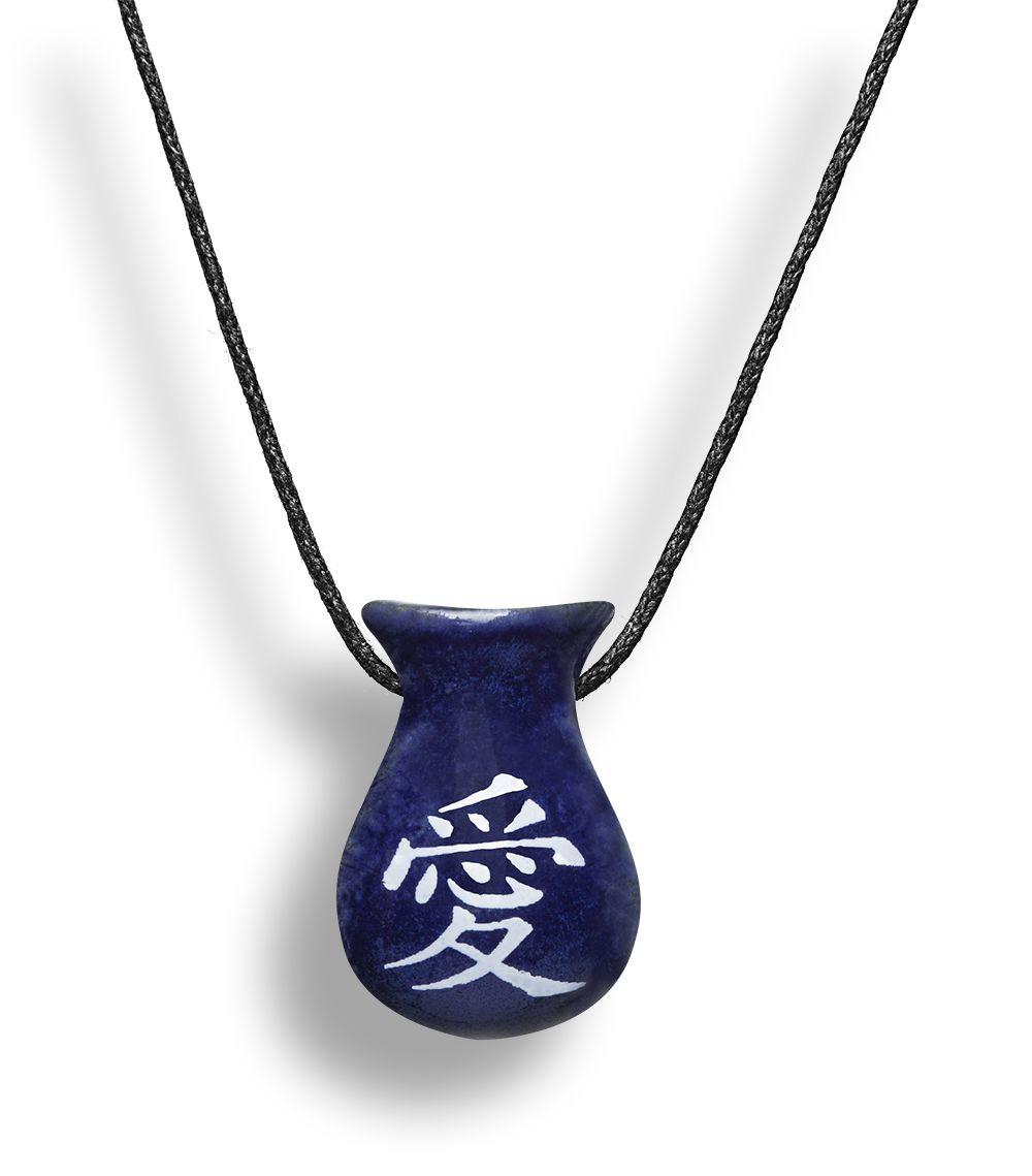 Colar Aromatizador Difusor Pessoal Cuia Símbolo Japonês Amor Azul Ortega