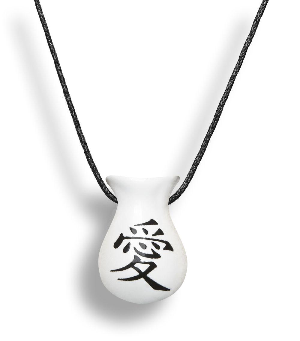 Colar Aromatizador Difusor Pessoal Cuia Símbolo Japonês Amor Branco - Ortega