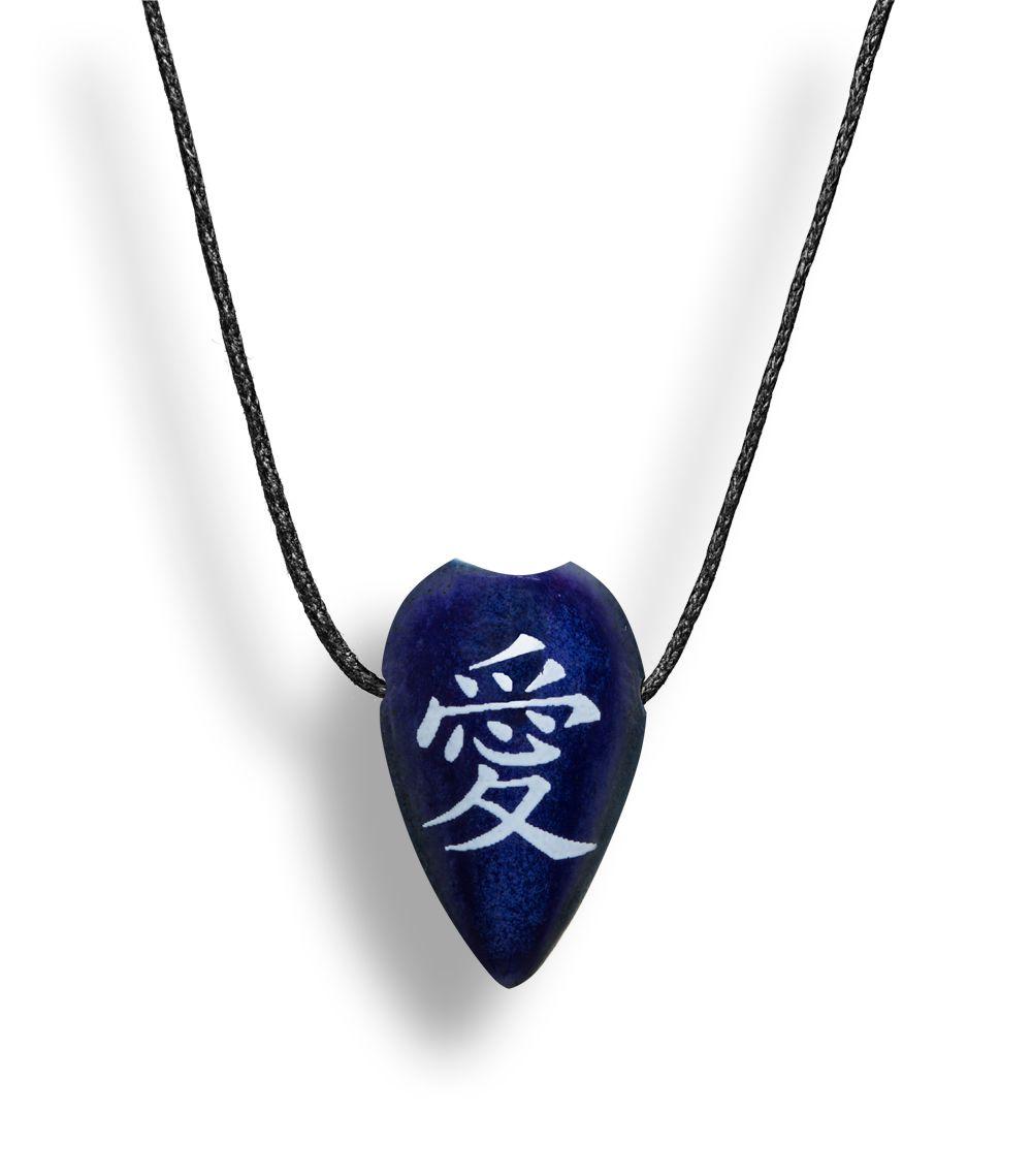 Colar Aromatizador Difusor Pessoal Folha Símbolo Japonês Amor Azul Ortega