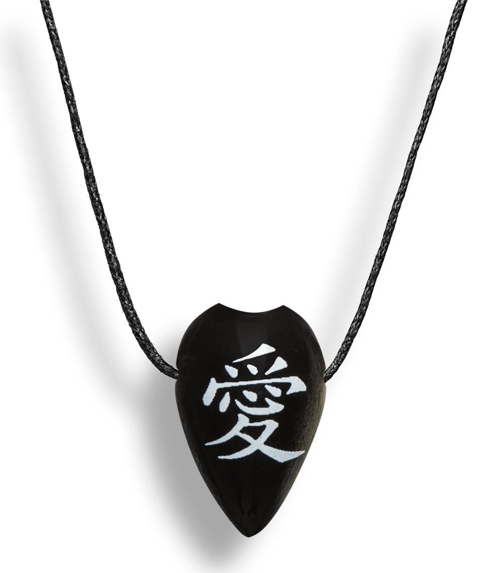 Colar Aromatizador Difusor Pessoal Folha Símbolo Japonês Amor Preto Ortega