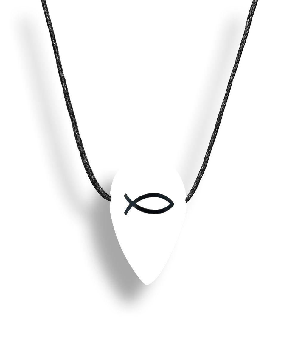 Colar Aromatizador Folha Branco Branco Símbolo Peixe Difusor Pessoal Ortega