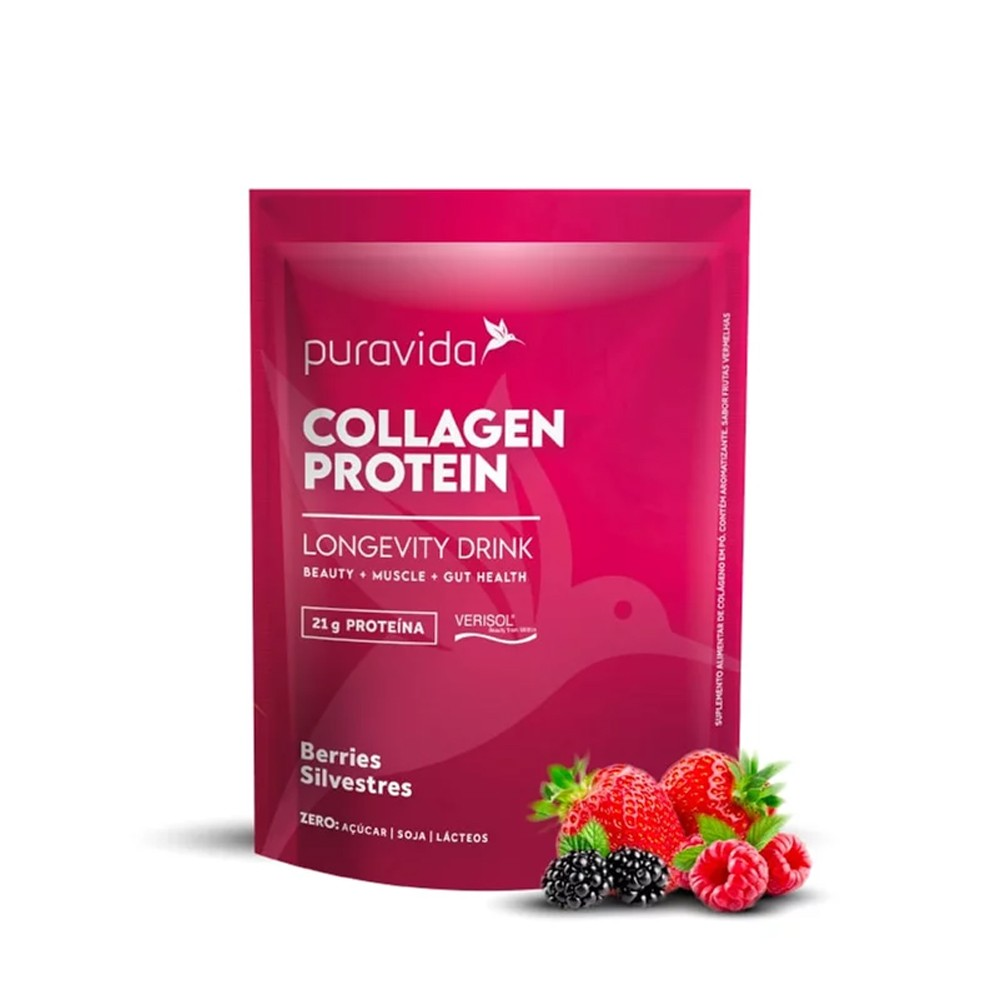 Collagen Protein Berries Silvestres Proteina de Colageno 450g Puravida