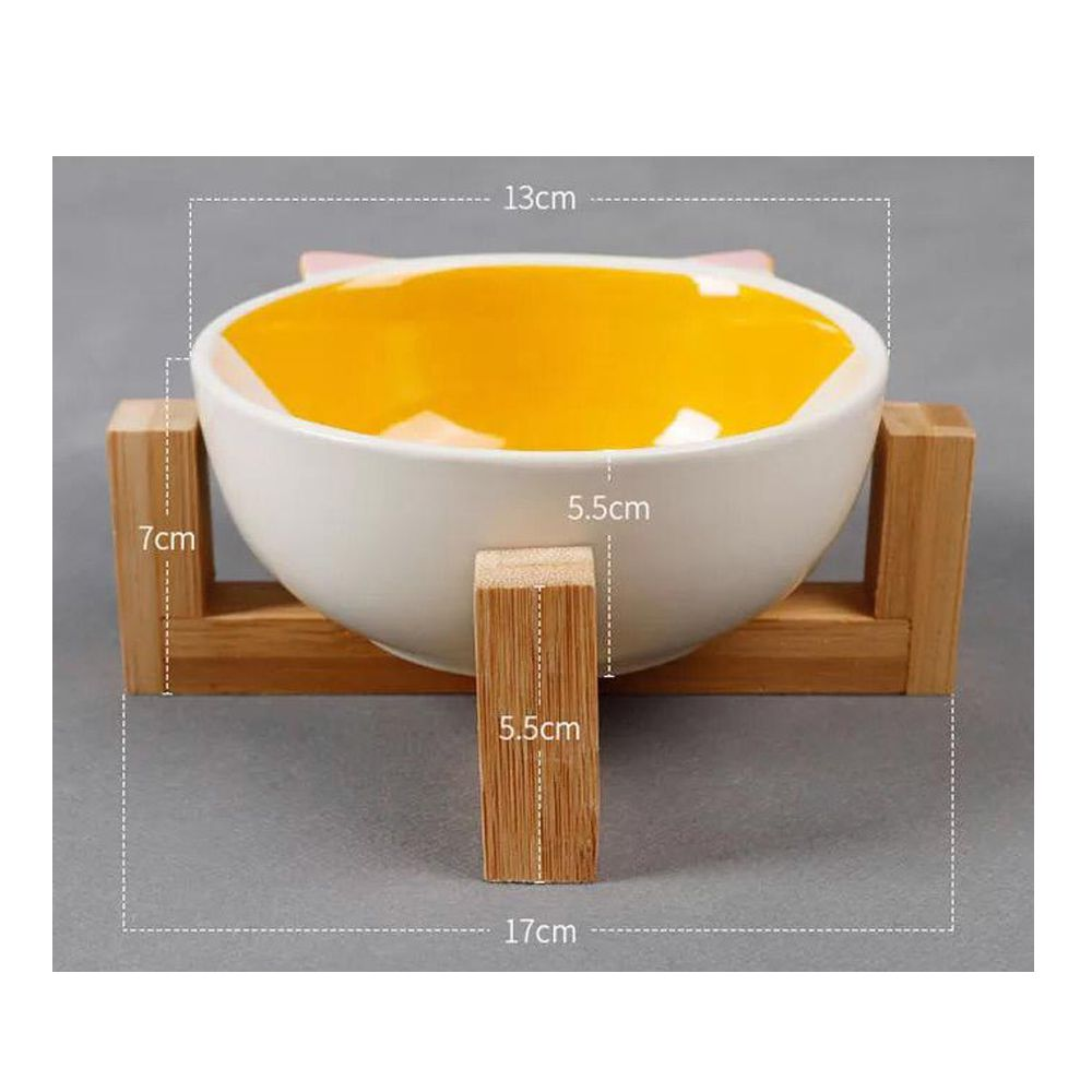 Comedouro Pet em Ceramica e Bambu 300ml Gato