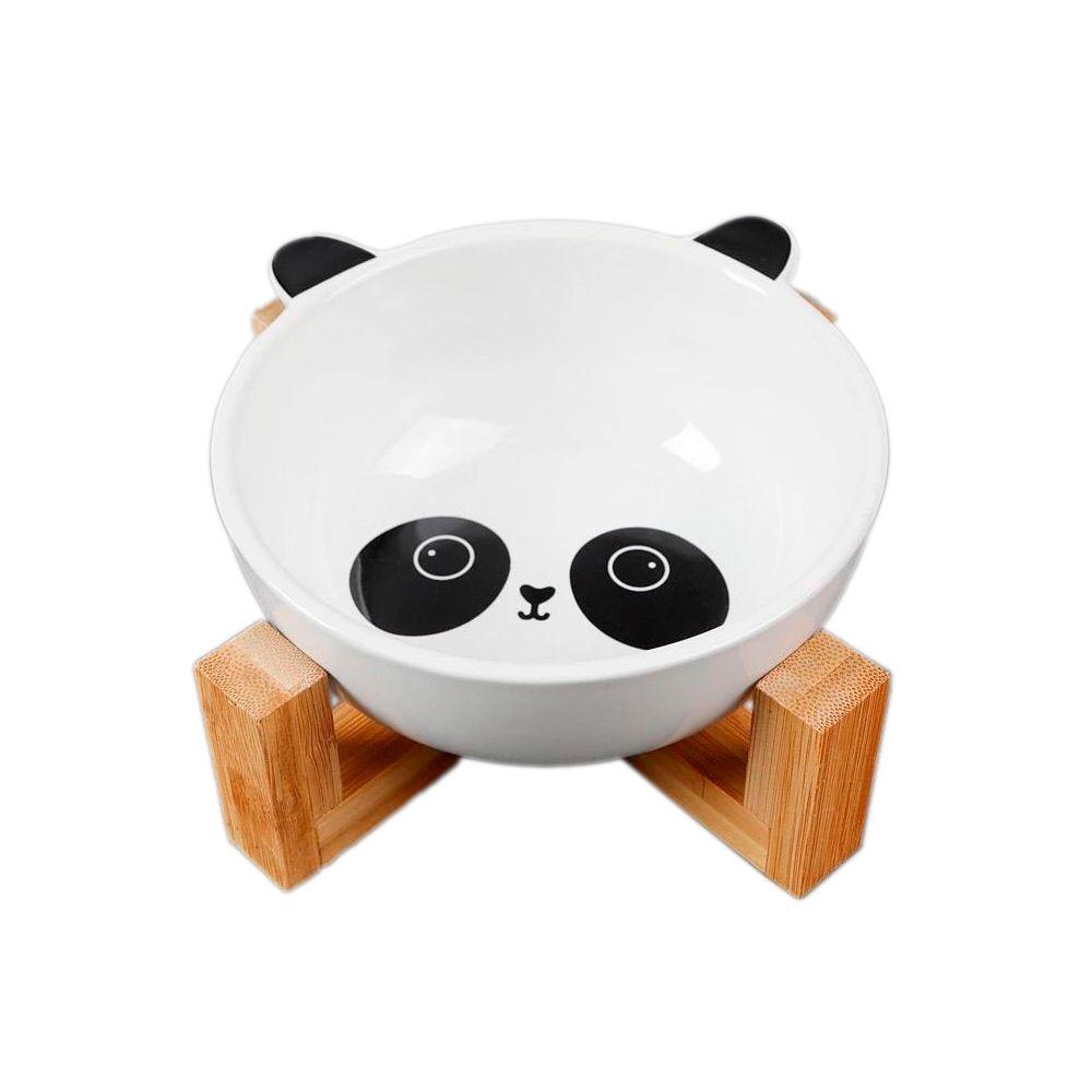 Comedouro Pet em Ceramica e Bambu 300ml Panda