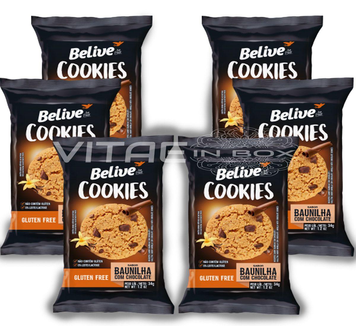 Cookie Baunilha com Gotas de Chocolate Sem Glúten Sem Lactose 06x34g - Belive