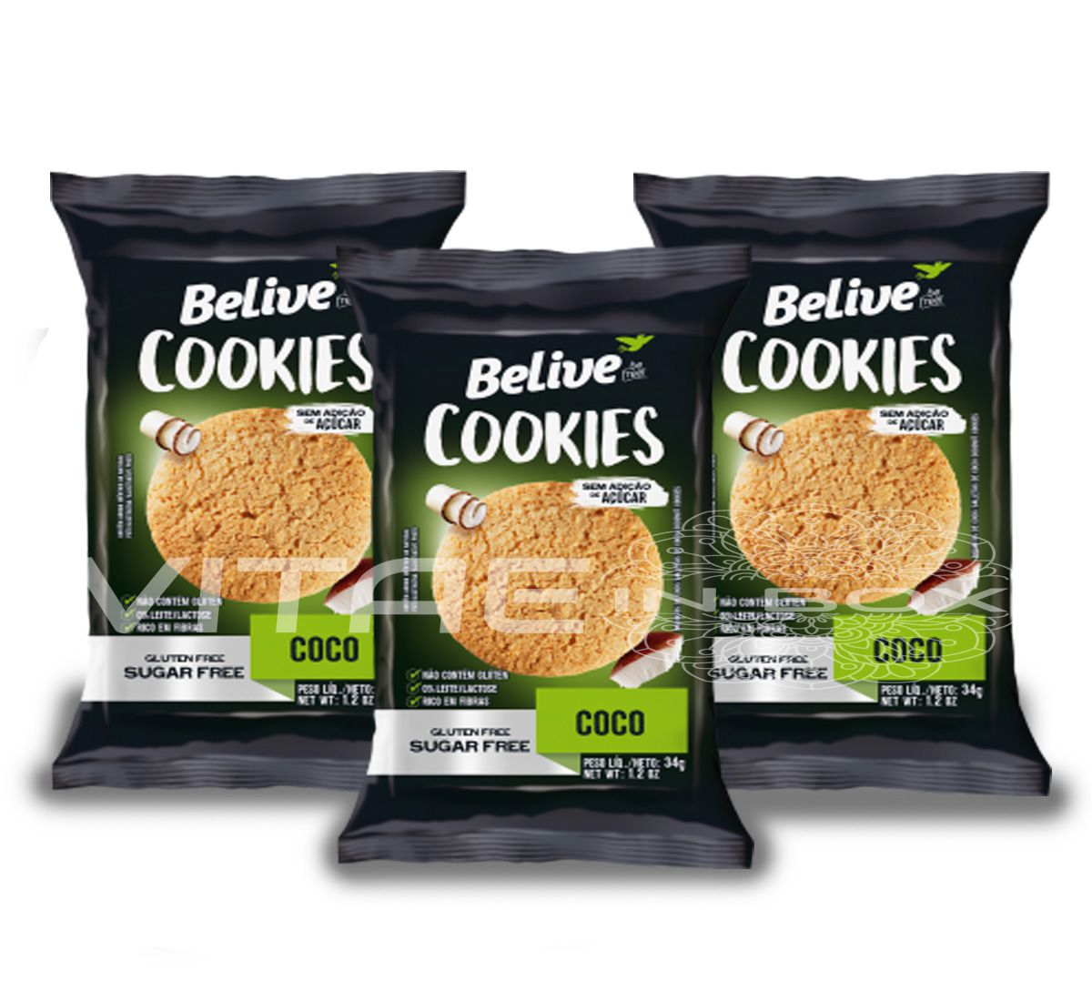 Cookie Coco Zero Açúcar Sem Glúten Sem Lactose 03x34g - Belive