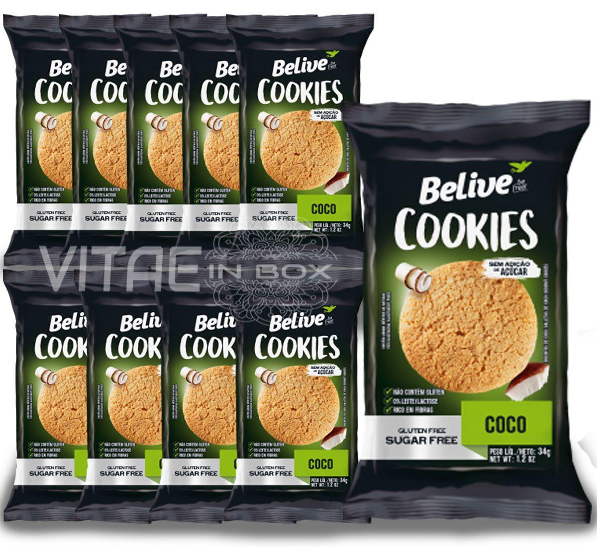 Cookie Coco Zero Açúcar Sem Glúten Sem Lactose 10x34g - Belive