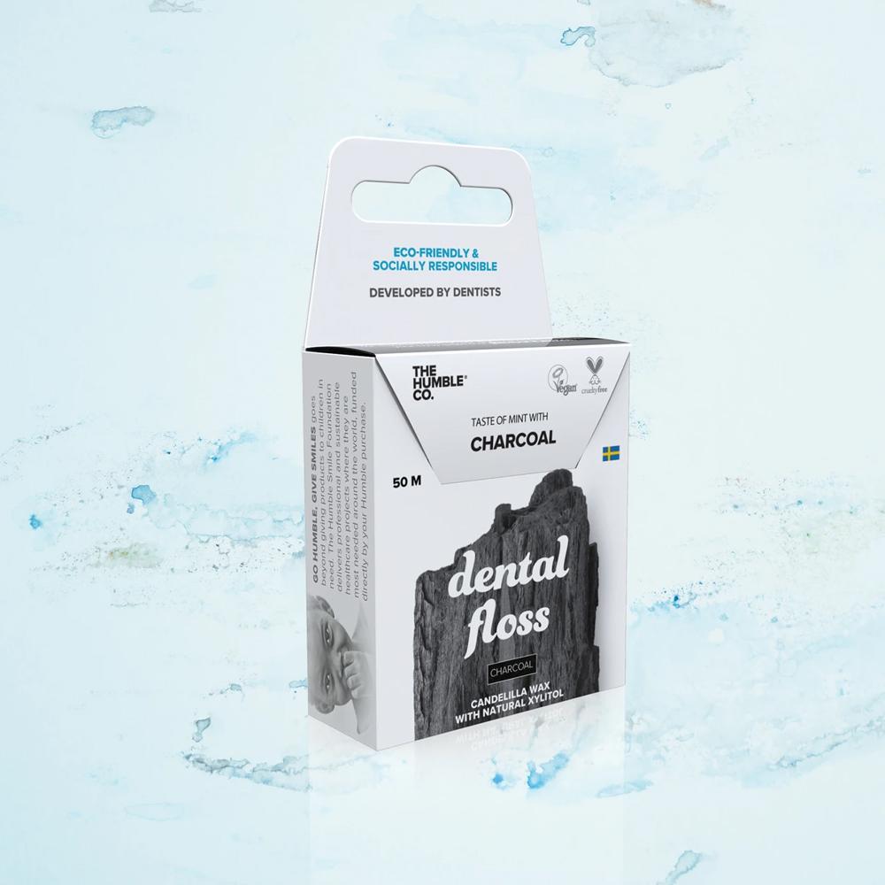 Fio Dental Orgânico Natural Carvão 50m The Humble