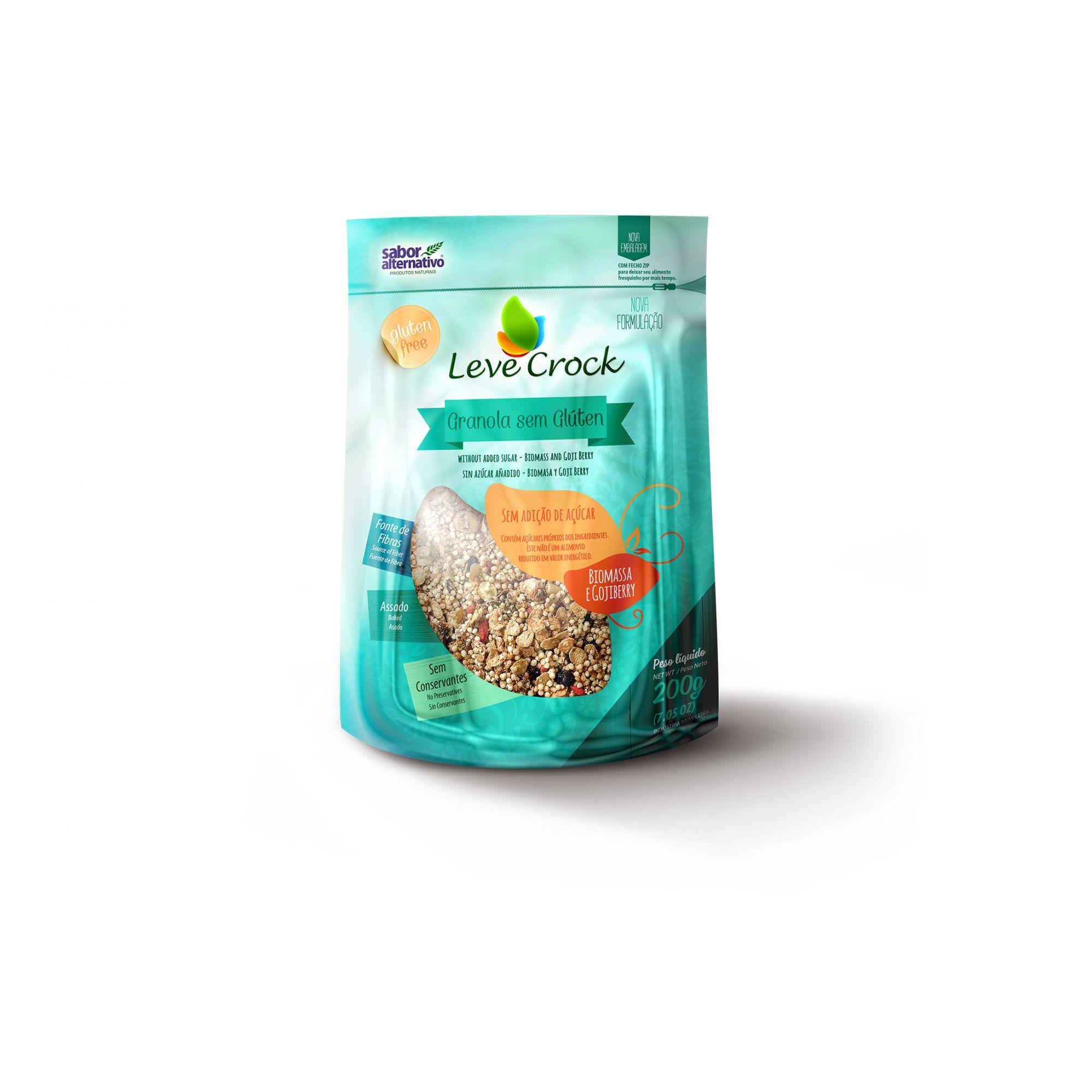 Granola sem Glúten sem Adição de Açúcar - Biomassa e Goji Berry 200g - Leve Crock