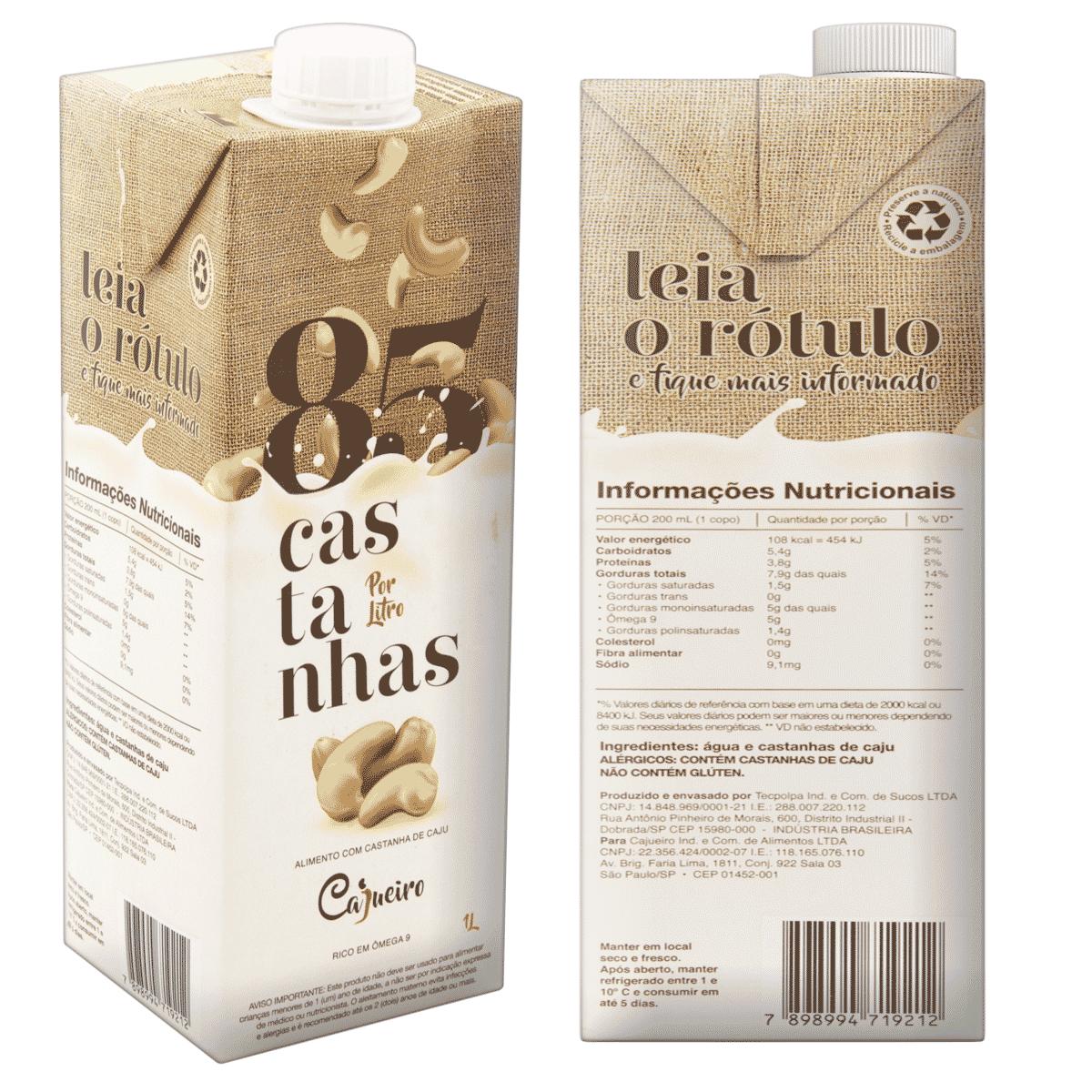 Leite Vegetal Cajueiro 85 Castanhas - Castanha de Caju 1lt.