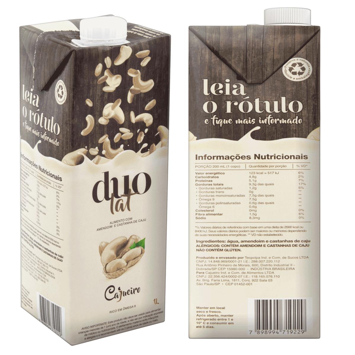 Leite Vegetal Cajueiro DuoLat - Castanha de Caju e Amendoim 1lt.