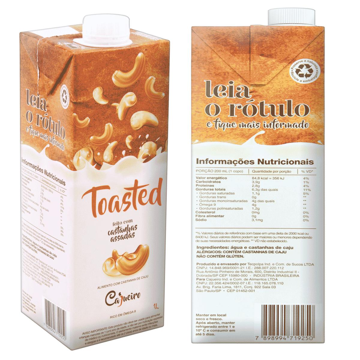 Leite Vegetal Cajueiro Toasted -Castanha de Caju Assada 1lt.