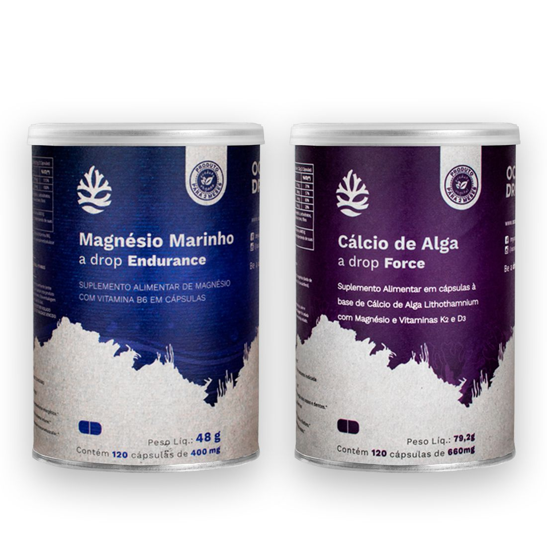 Magnésio Marinho e Cálcio de Algas 120 cáps cada - Ocean Drop