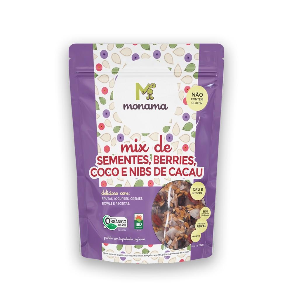 Mix de Sementes Orgânico Berries Coco e Nibs de Cacau 190g Monama
