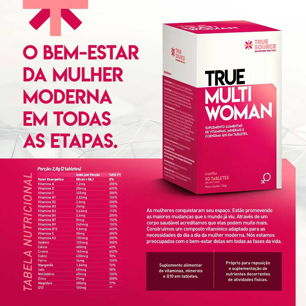 Multivitamínico True Multi Woman com Coenzima Q10 90 tabletes  True Source