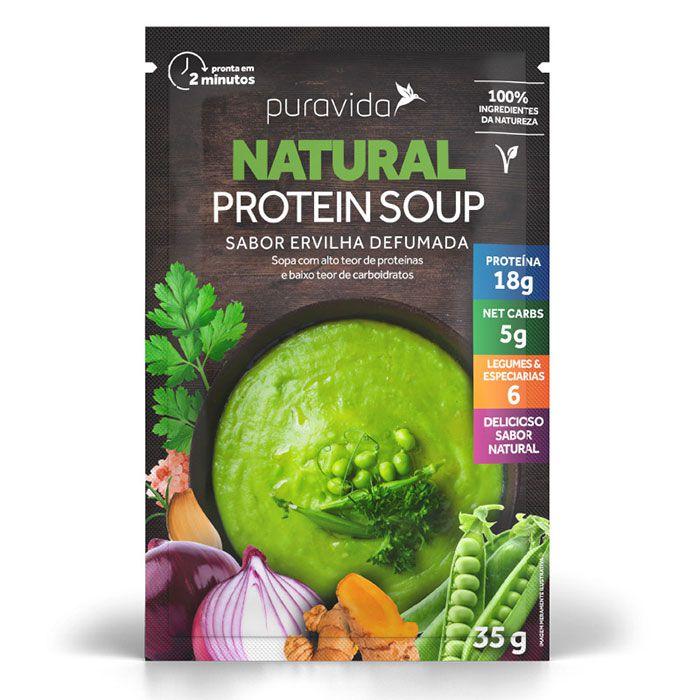 Natural Protein Soup Ervilha Defumada 3 Saches de 35g Sopa Proteica - Puravida