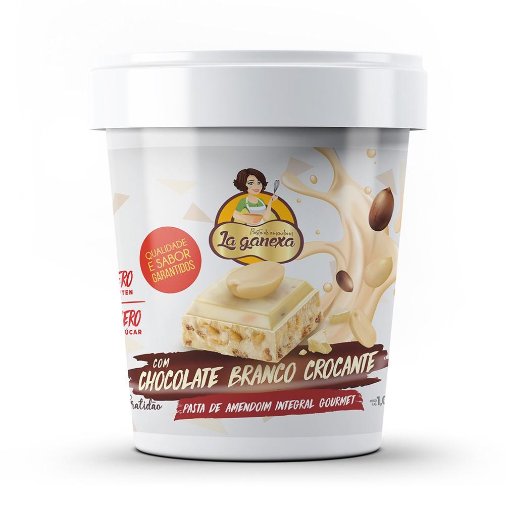 Pasta de Amendoim Integral Gourmet Chocolate Branco Crocante 450g La Ganexa