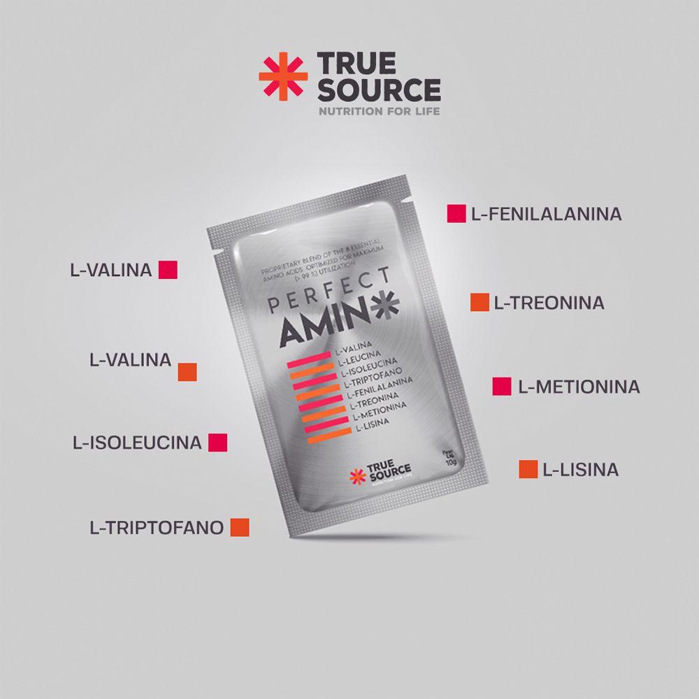 Perfect Amino 30 Sachês Aminoacidos Essenciais em Pó Tangerina 330g True Source
