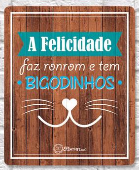 Placa Decorativa Cor Madeira Bigodinhos - CatMyPet